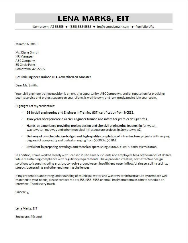 Cover Letter Sample Civil Engineering Job