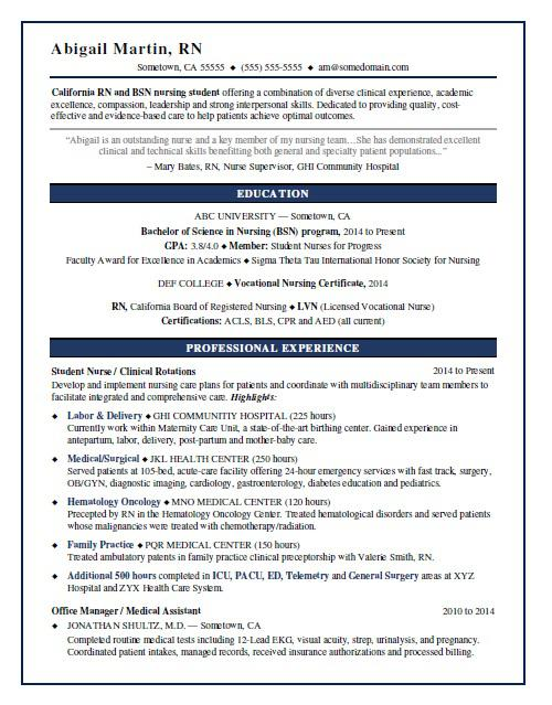 nursing student resume sample
