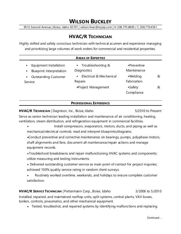 sample resume for an hvac technician