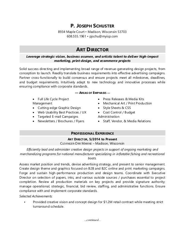 Sample Resume For An Art Director  Marketing Director Resume Sample