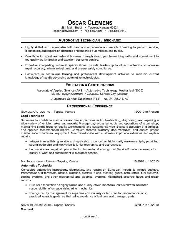 Auto Mechanic Resume Sample | Monster.Com