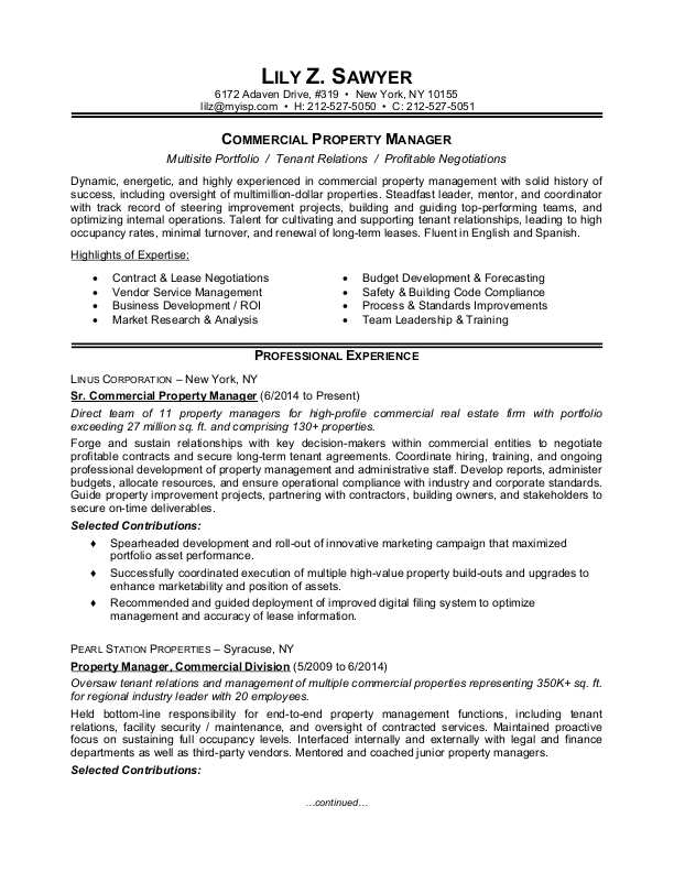 Property Manager Resume Sample  MonsterCom