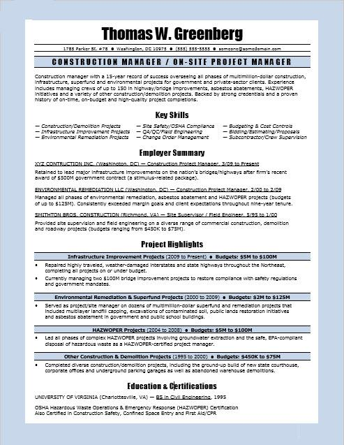 sample resume for a construction manager - Construction Project Manager Resume Examples