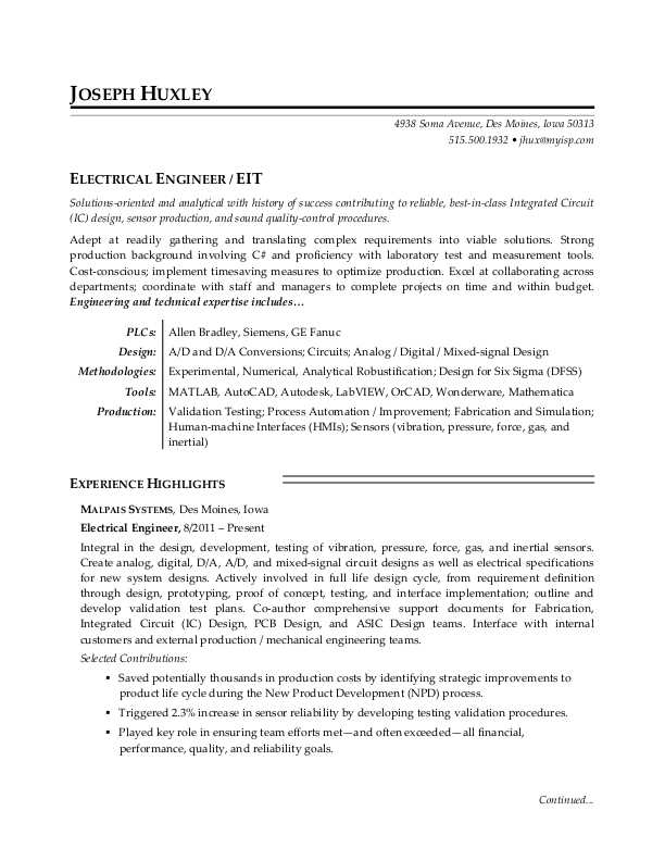 sample resume for an electrical engineer