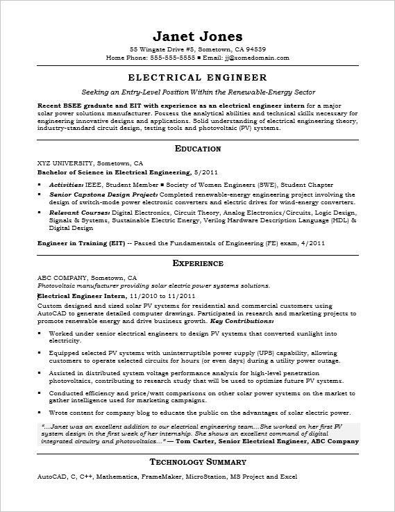 Entry Level Electrical Engineer Sample Resume Monster Com