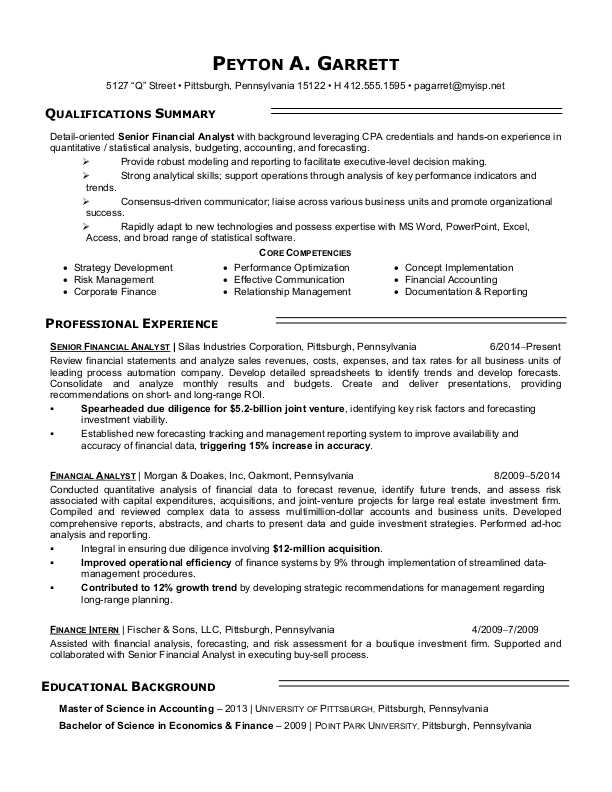 Sample Resume For A Financialyst