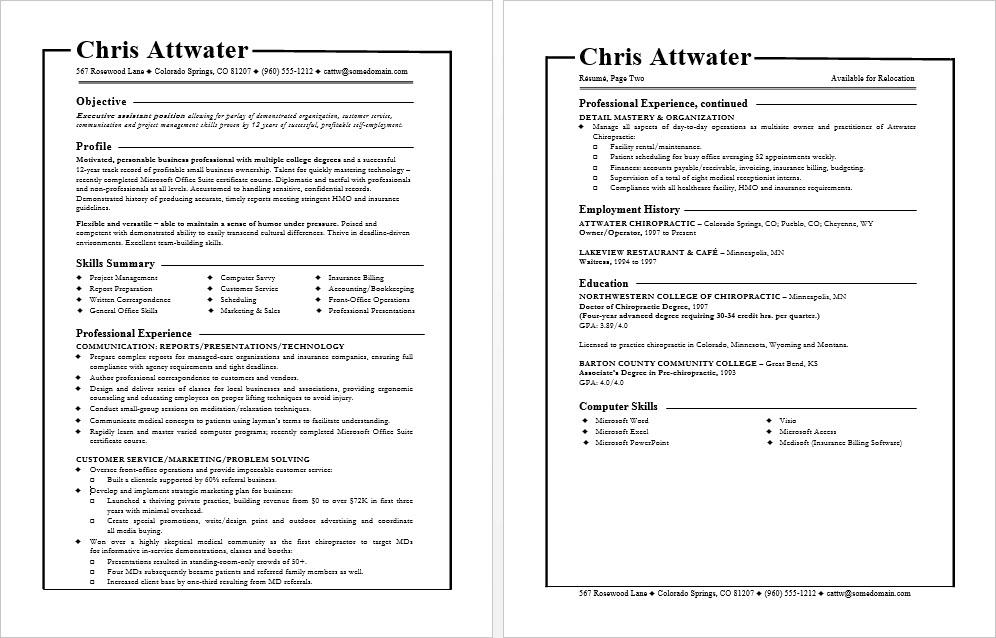 how to write a generic resume
