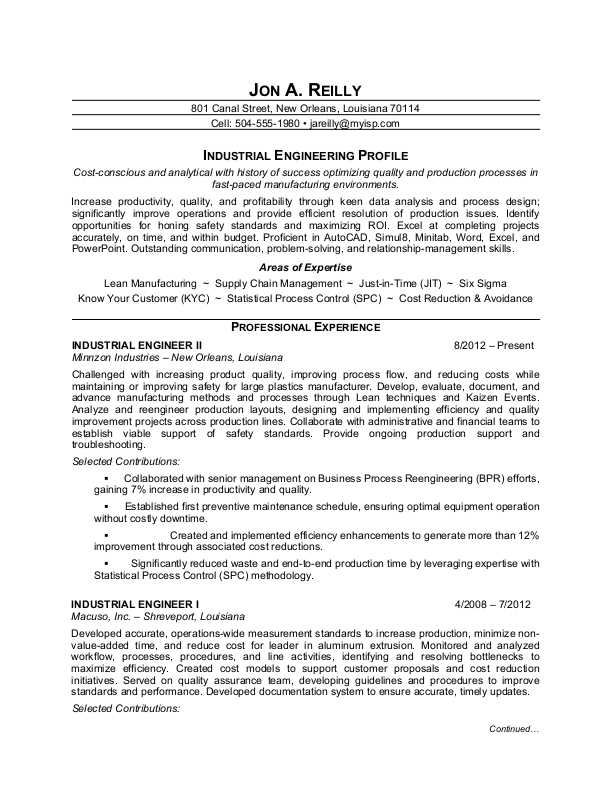 sample resume for an industrial engineer - Industrial Engineering Resume Samples