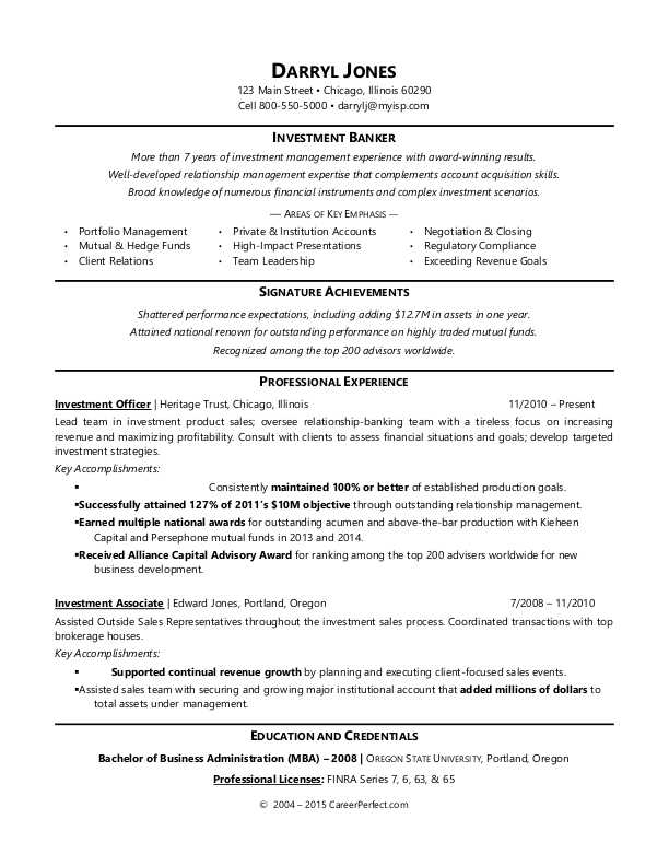Sample Resume for an Investment Banker
