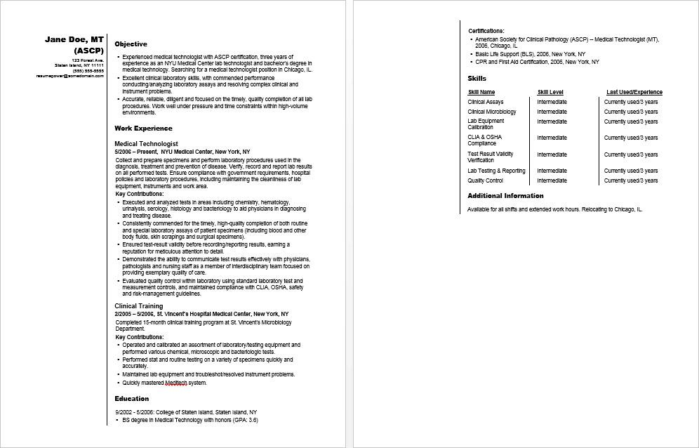 Sample resume for a medical technologist