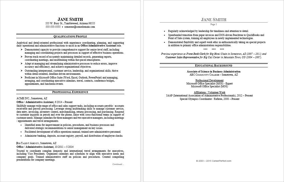 Exceptional Sample Resume For An Office Assistant Regarding Administrative Assistant Office Resume