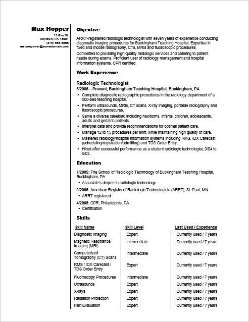 sample resume for a radiography professional - Radiologic Technologist Resume Sample