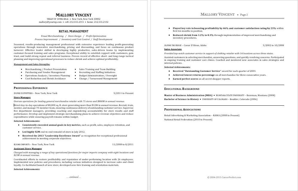 sample resume for a retail manager - Resume For Store Manager