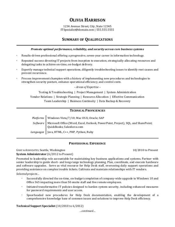 Sample Resume For An IT Professional  Sample Professional Summary Resume