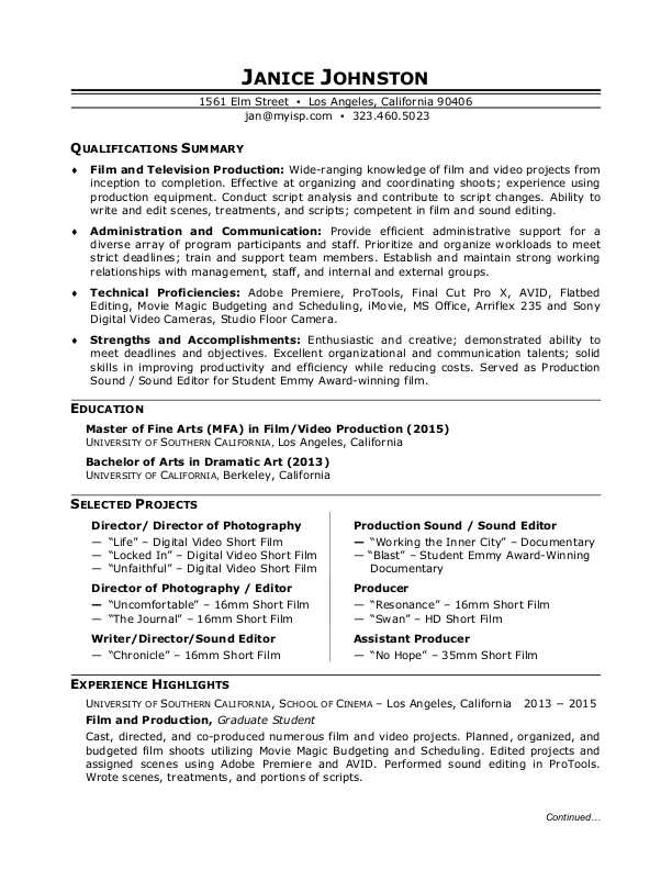 film production sample resume - Resume Highlights