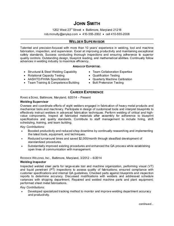 Welder Supervisor Resume Sample | Monster com