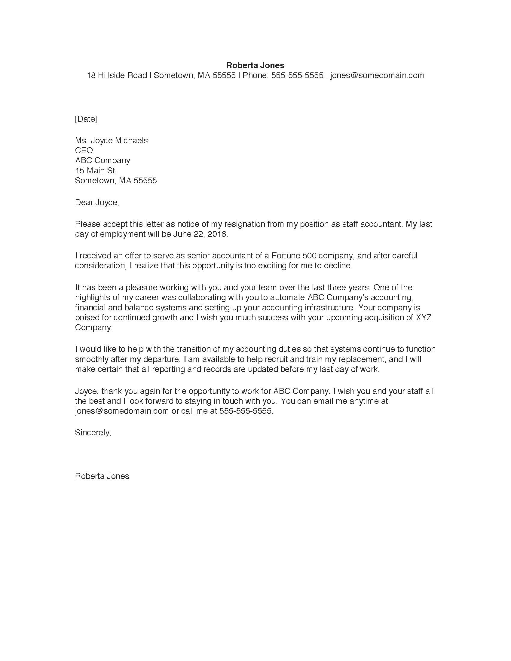 sample resignation letter - Example Of Letters Of Resignation