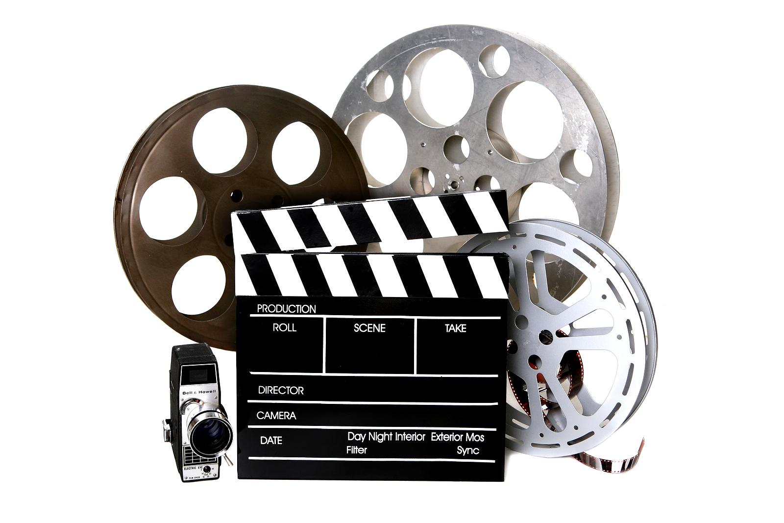 Film reels, camera, and clapperboard