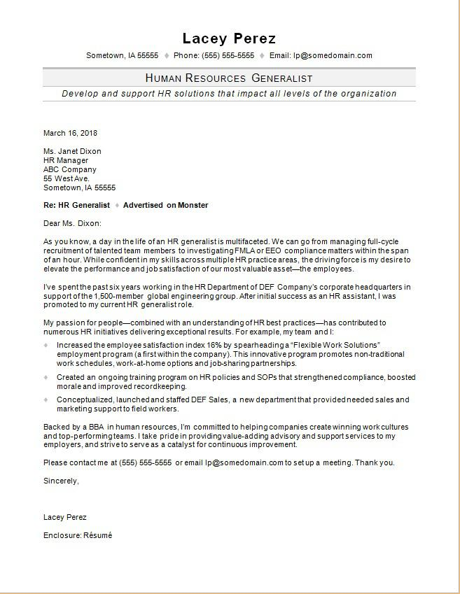 hr generalist cover letter sample monster com