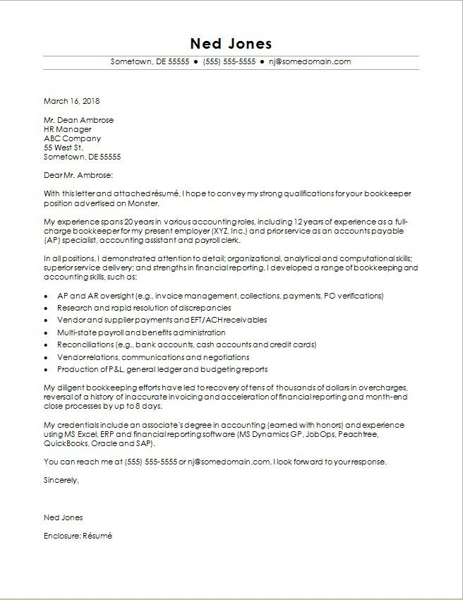 Bookkeeper Cover Letter  Accounting Cover Letter Samples