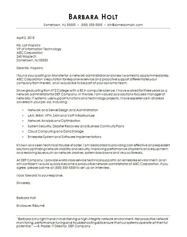 sample cover letter for business administration