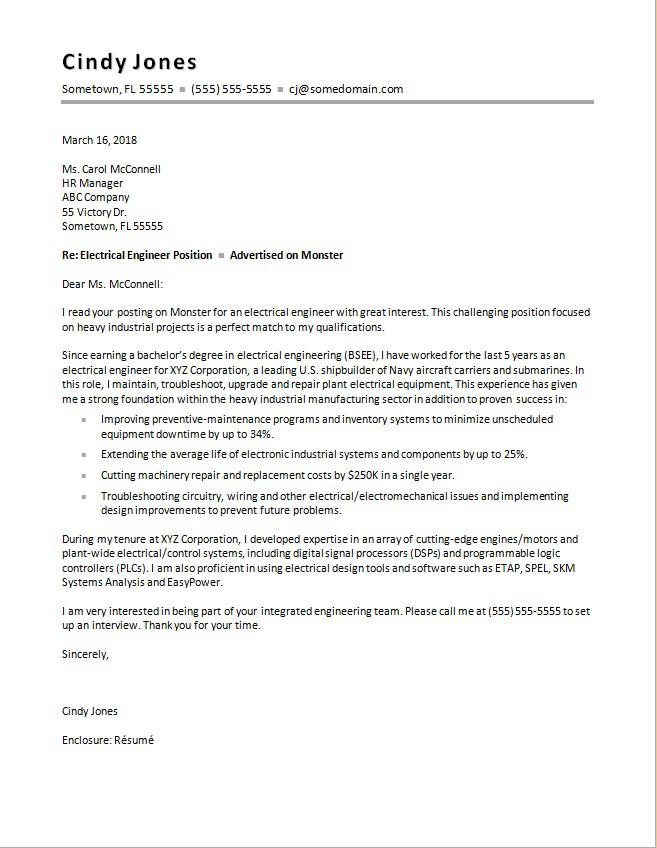 Electrical Engineering Cover Letter Sample | Monster com