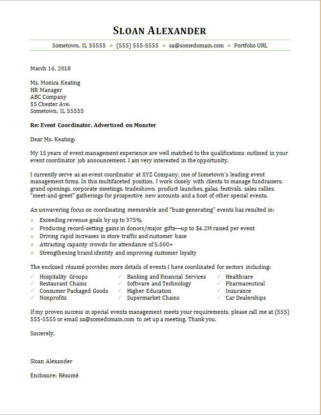 Event Coordinator Cover Letter Sample | Monster com