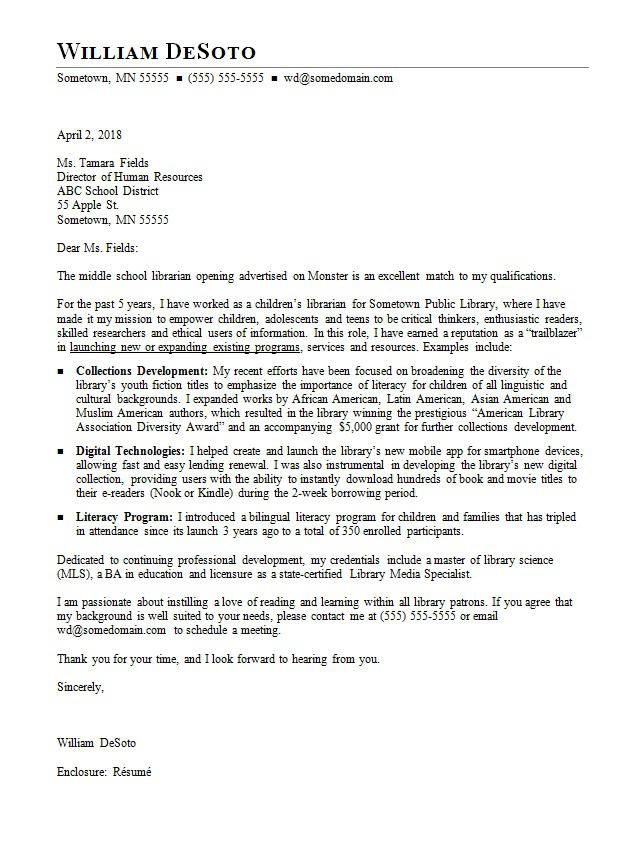 Librarian Cover Letter Sample  MonsterCom