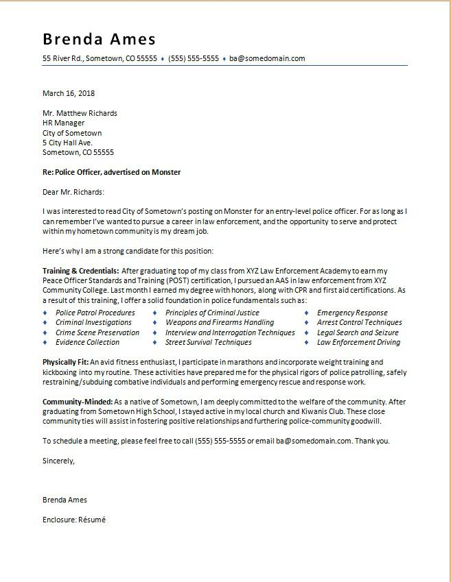 Police Officer Cover Letter Sample Monstercom
