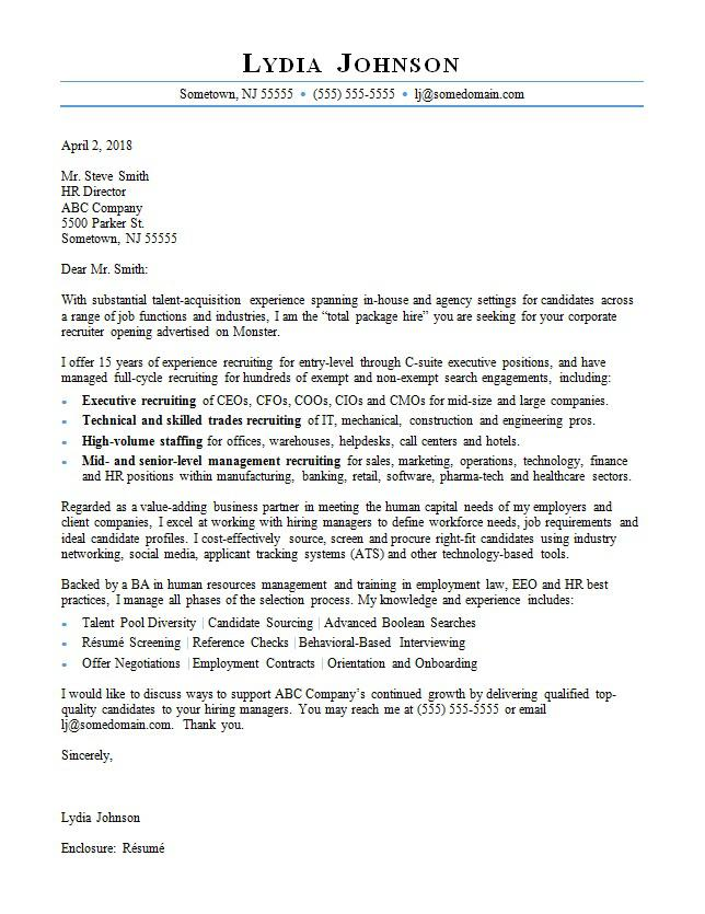 Recruiter cover letter sample for Comments to the recruiter or cover letter