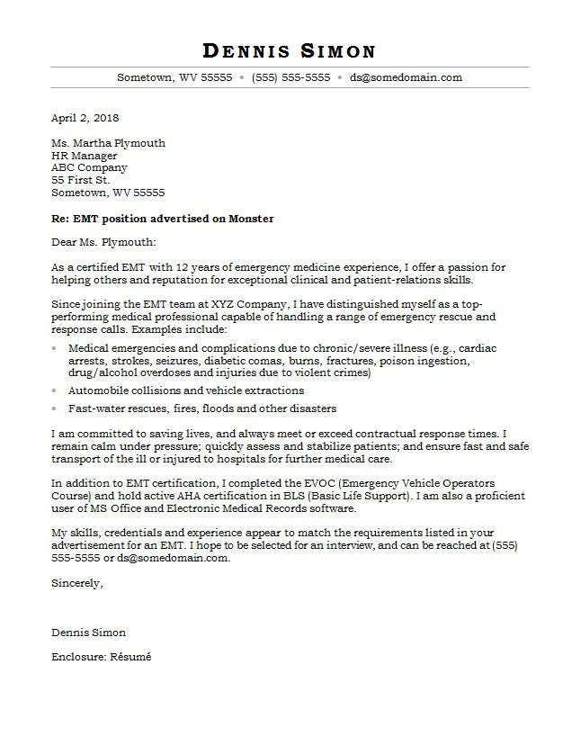 EMT Cover Letter Sample Monstercom