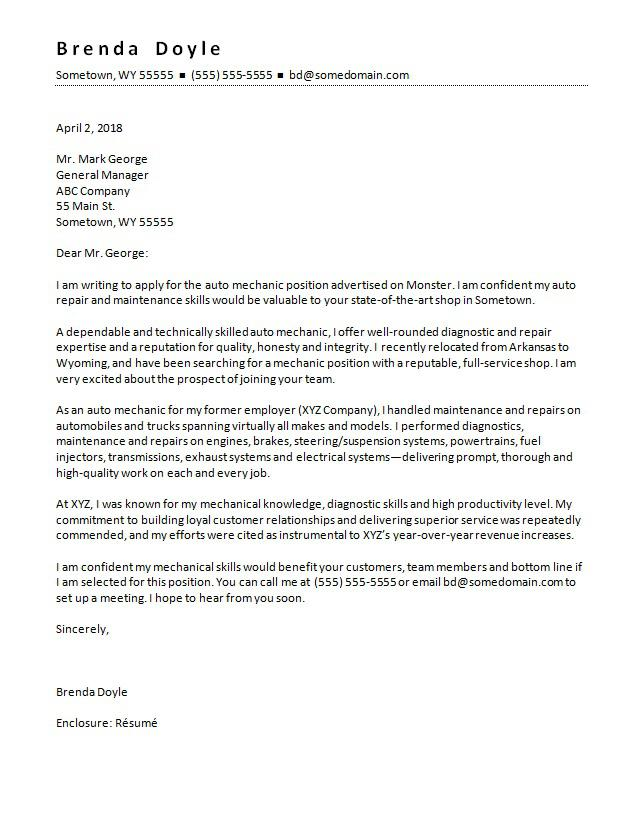 Mechanic Cover Letter Sample MonsterCom