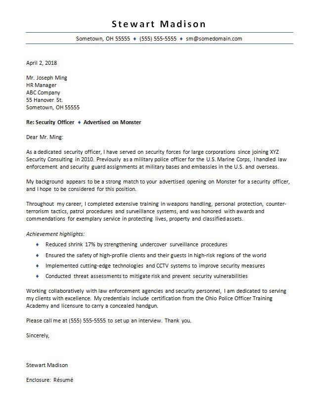security guard cover letter example