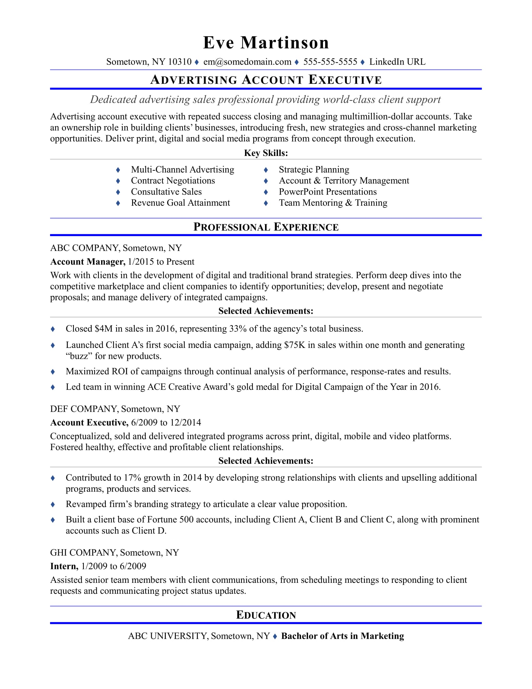 Sample resume for an advertising account executive | Monster.com
