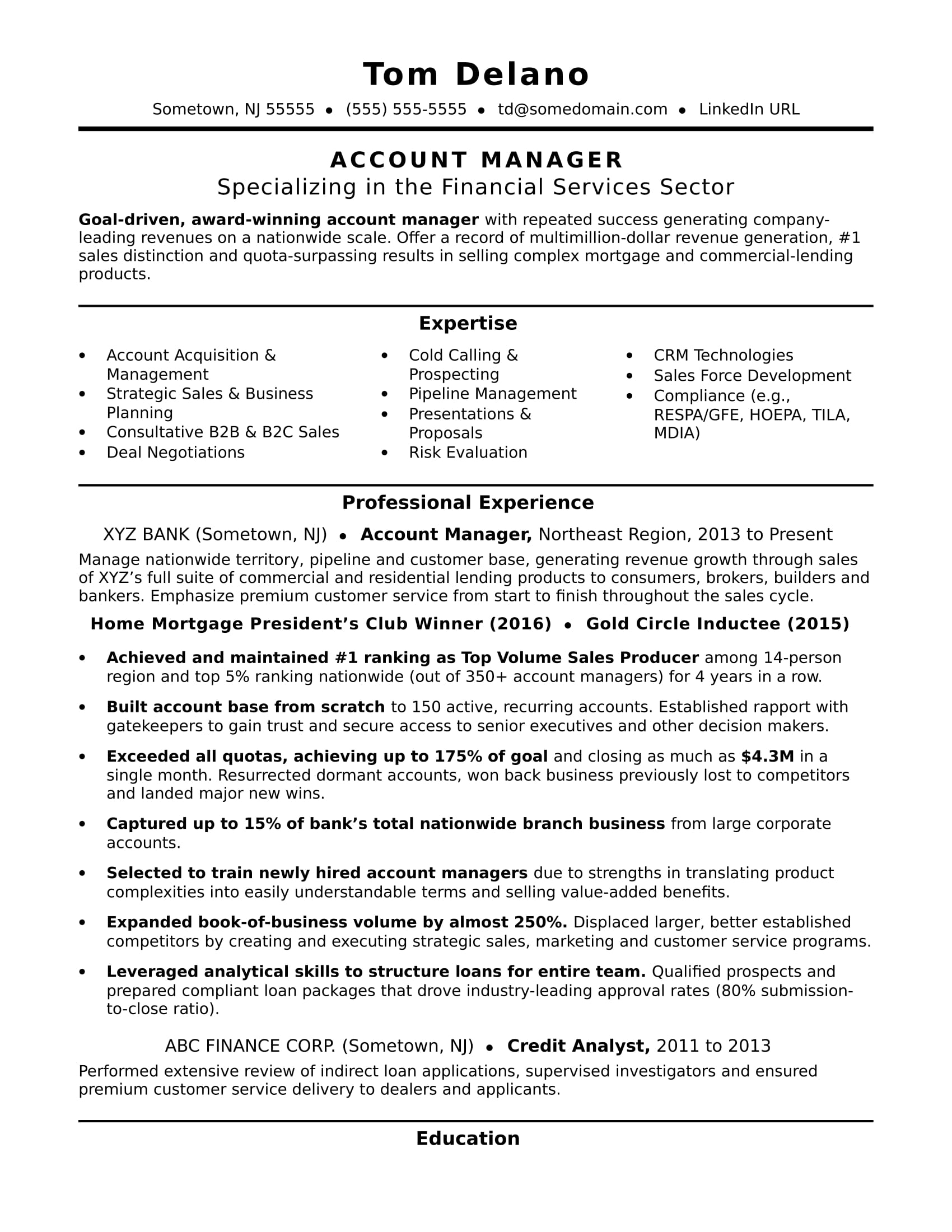 Superior Account Manager Resume Sample