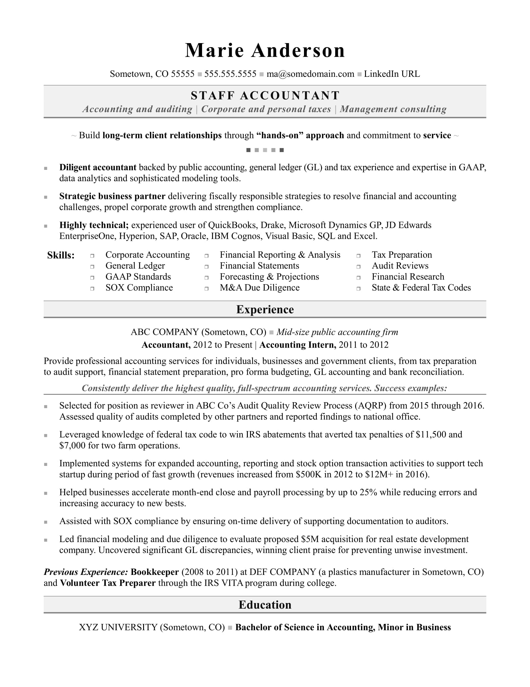 accounting resume sample - Mid Career Resume Sample