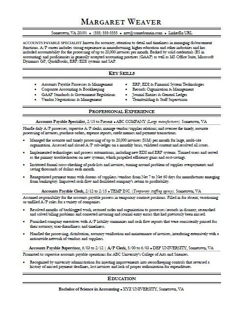 Accounts Payable Resume Sample  MonsterCom
