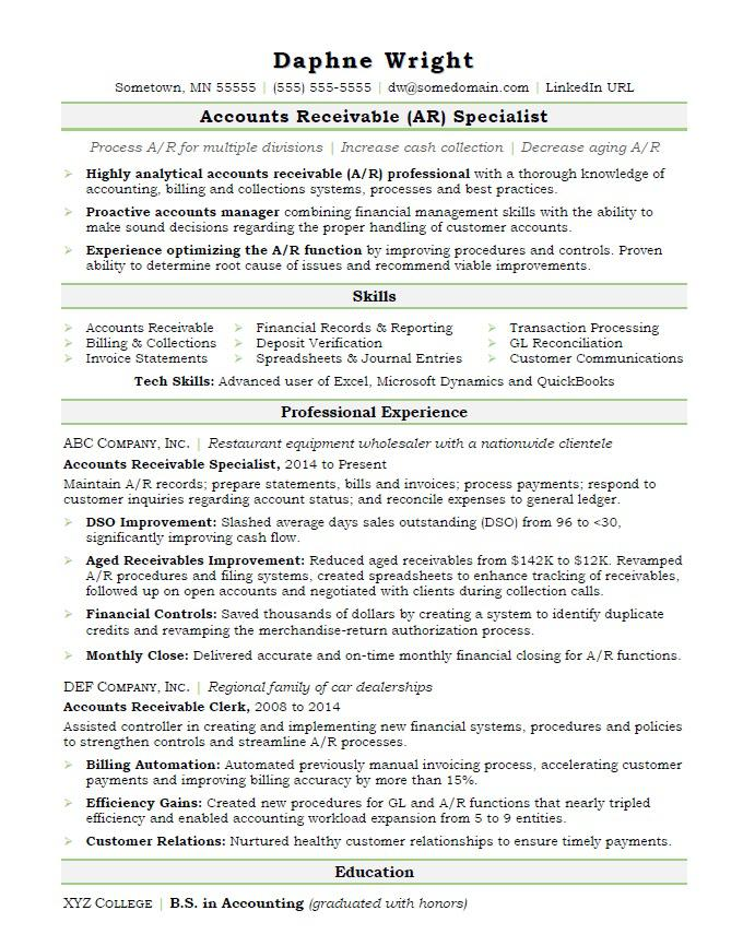 Accounts Receivable Resume Sample  Accounts Receivable Specialist Resume