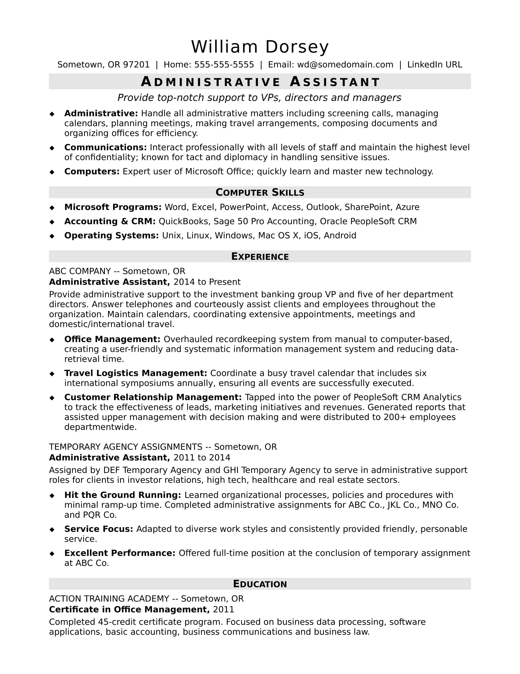 Sample resume for a midlevel administrative assistant