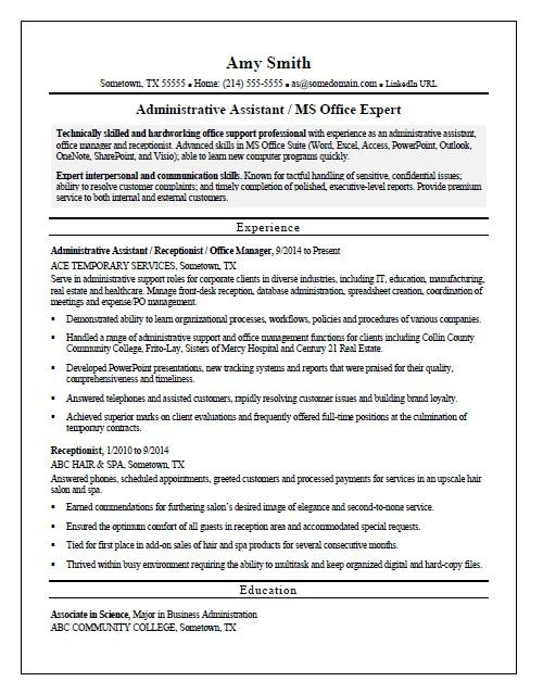 Temp Admin Resume Sample Monster Com