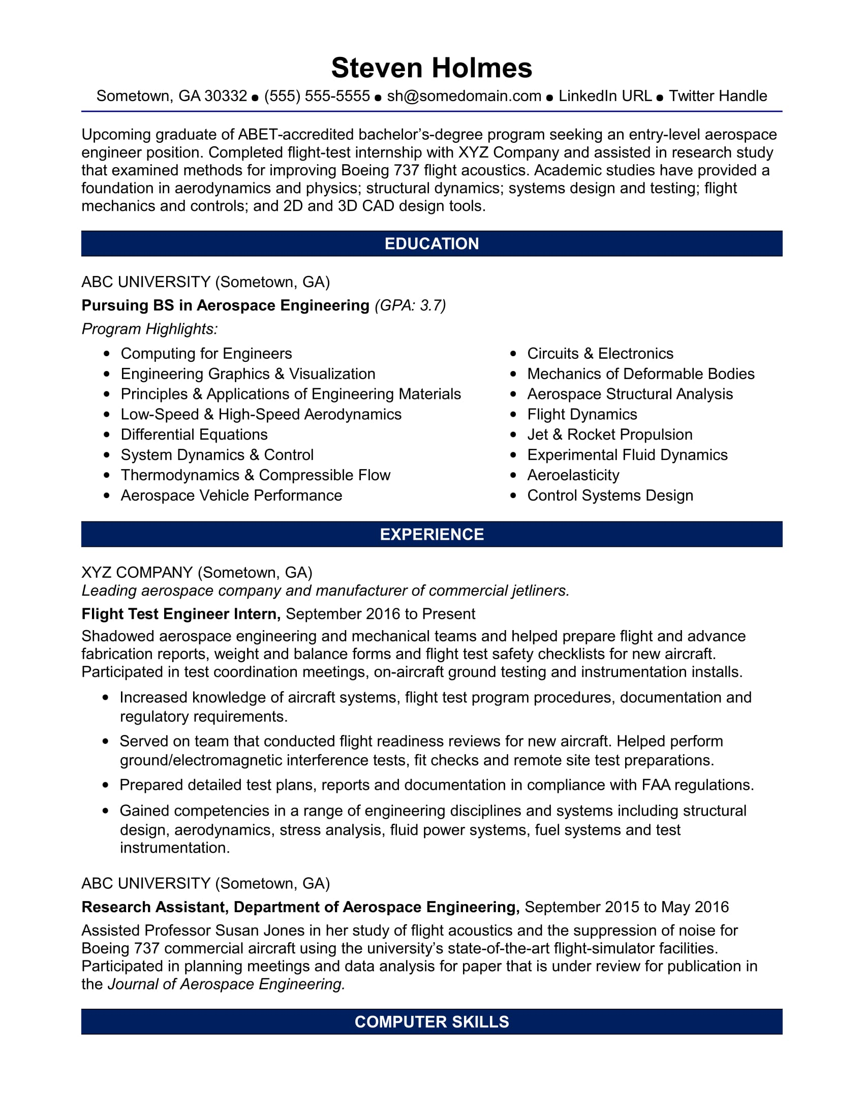 sample resume for an entry level aerospace engineer