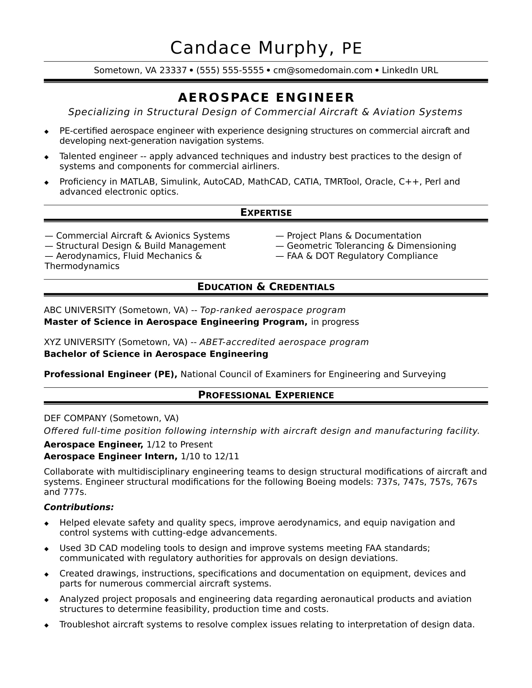 Sample Resume For A Midlevel Aerospace Engineer  Professional Engineer Resume