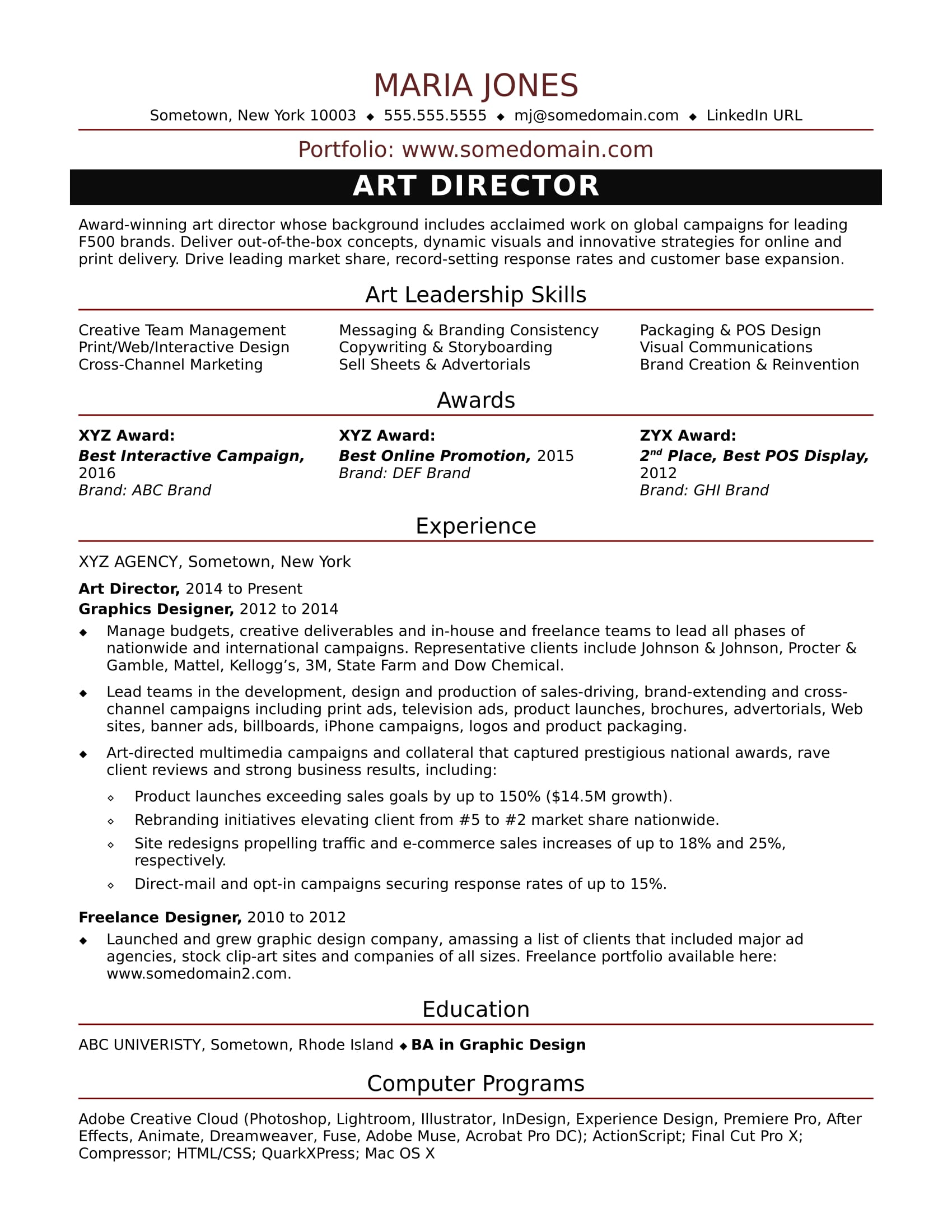 sample resume for a midlevel art director - Sample Resume For Graphic Designer