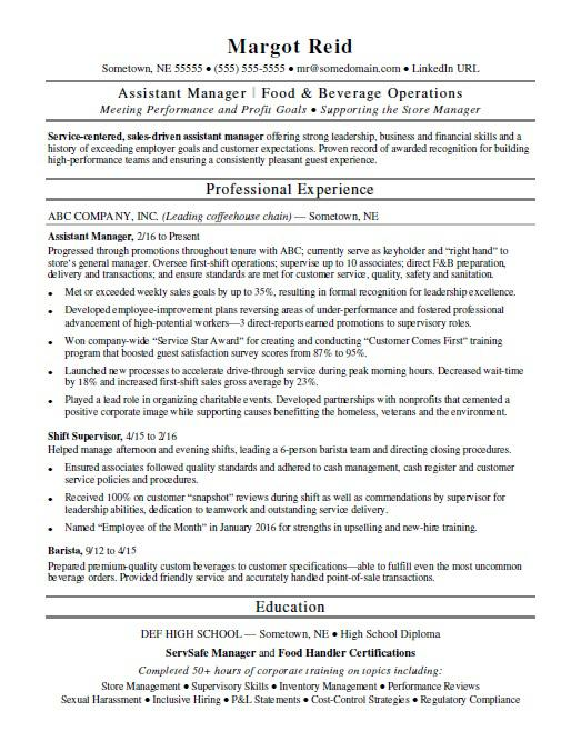 Assistant Manager Resume Sample Monster Com