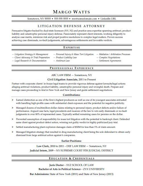 Attorney Resume Sample  Law Resume