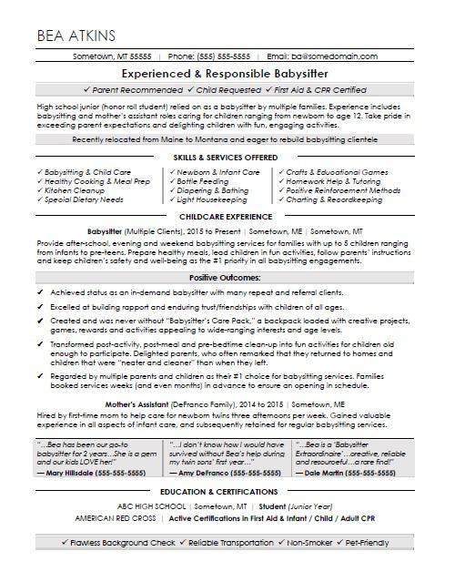 Babysitter Resume Sample Intended For Sample Babysitter Resume