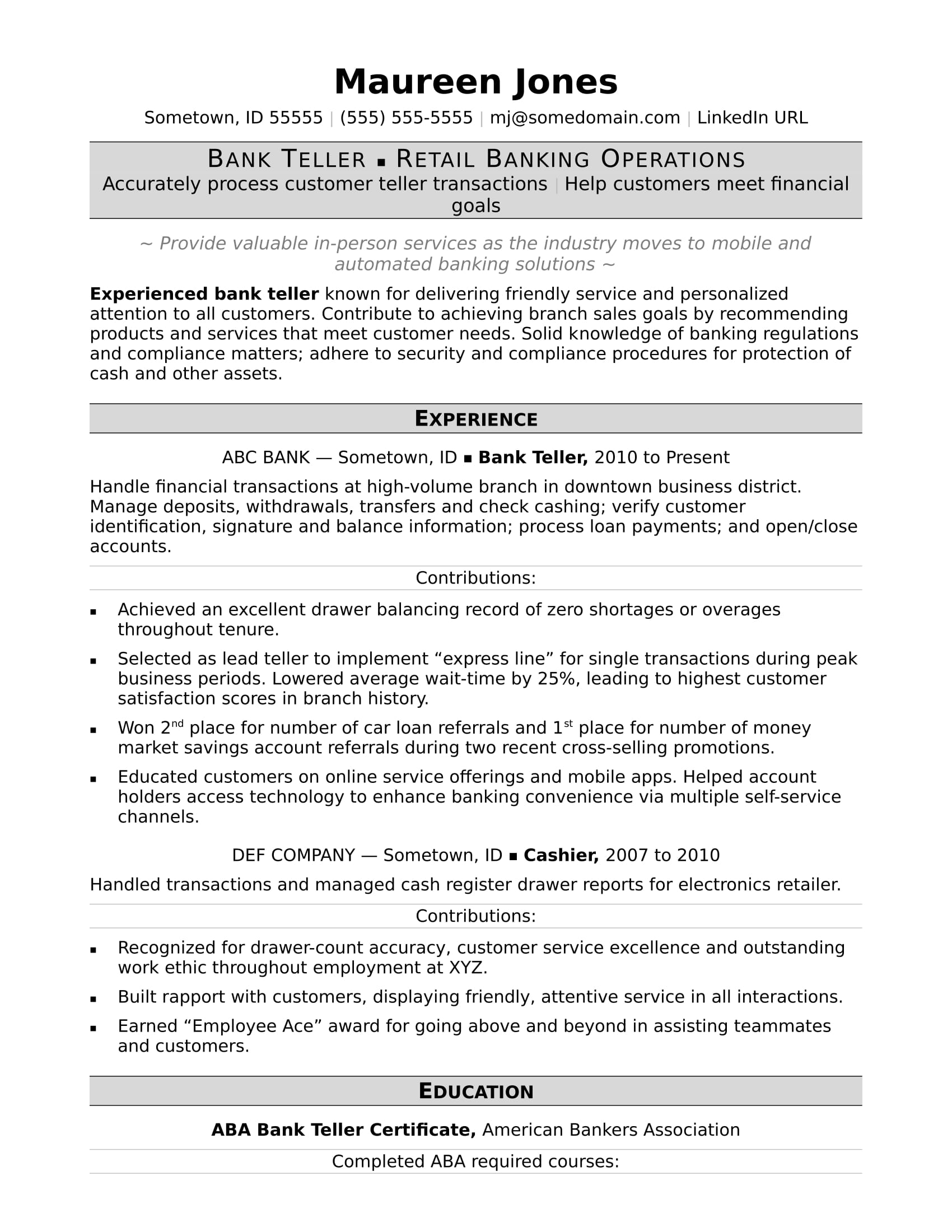 Teller Resume Bank Sample