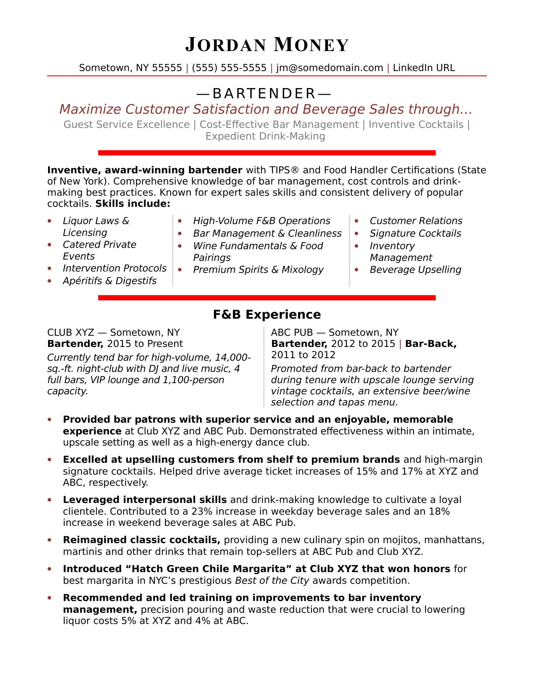 Bartender Resume Sample Monster Com Skills