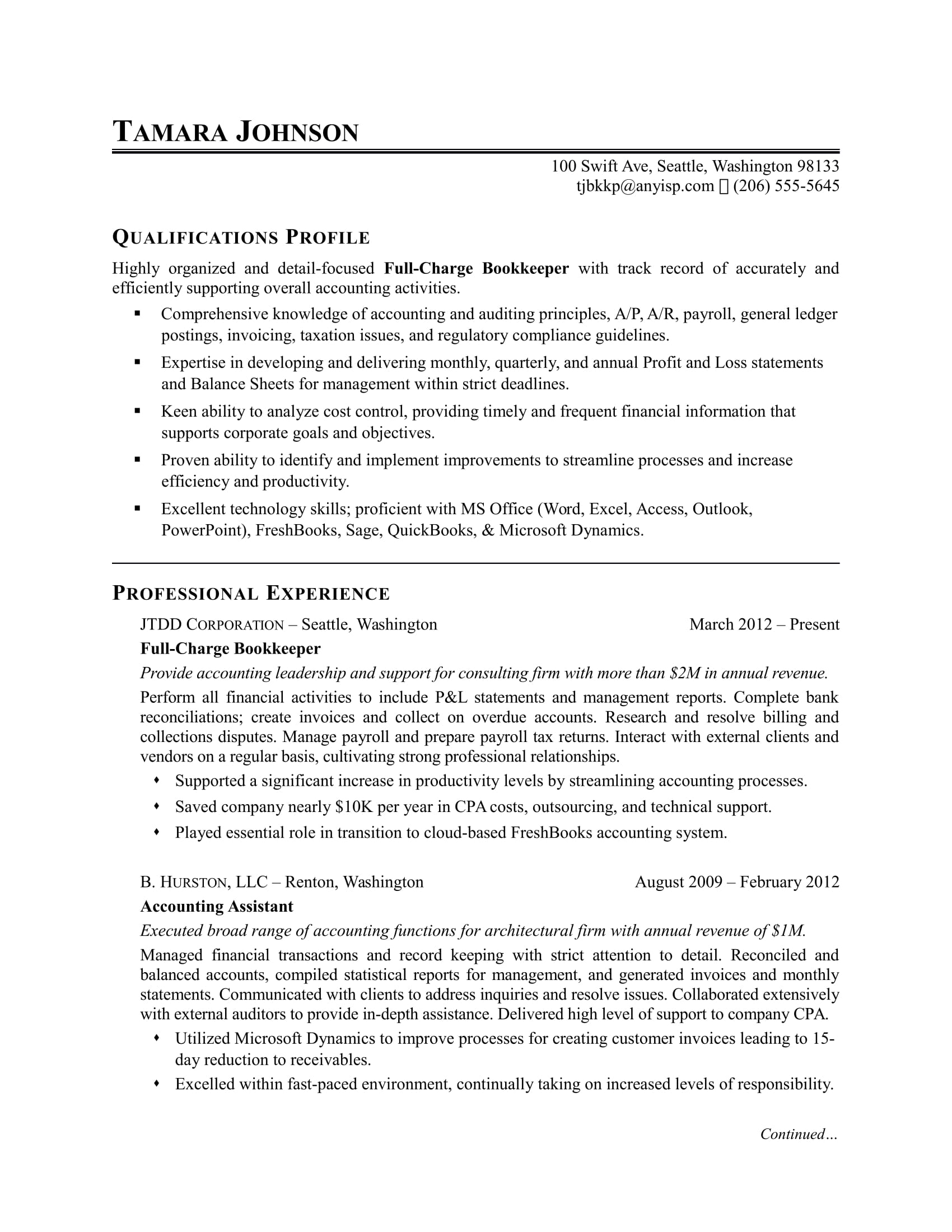 Sample resume for a bookkeeper