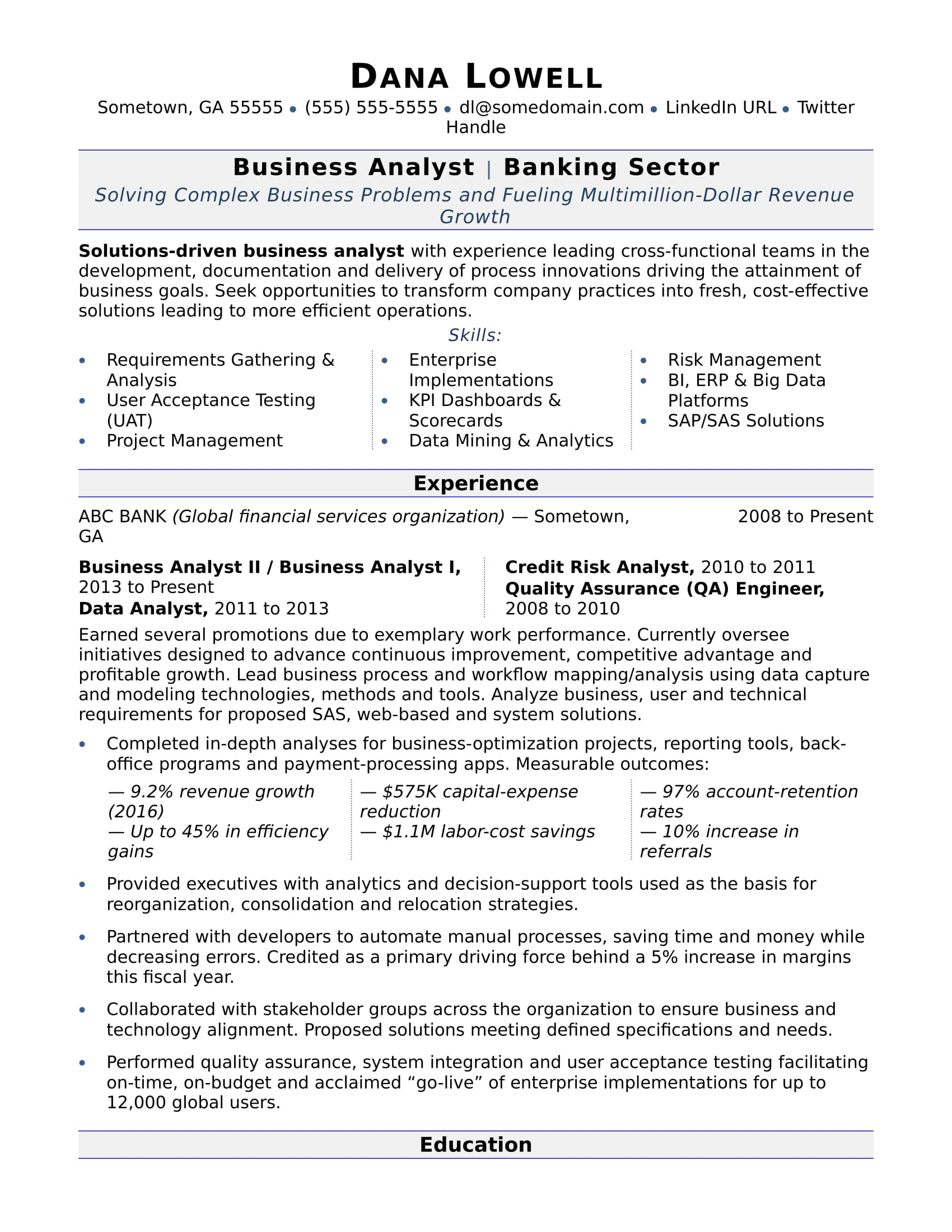Business Analyst Resume Sample  Bank Resume Template